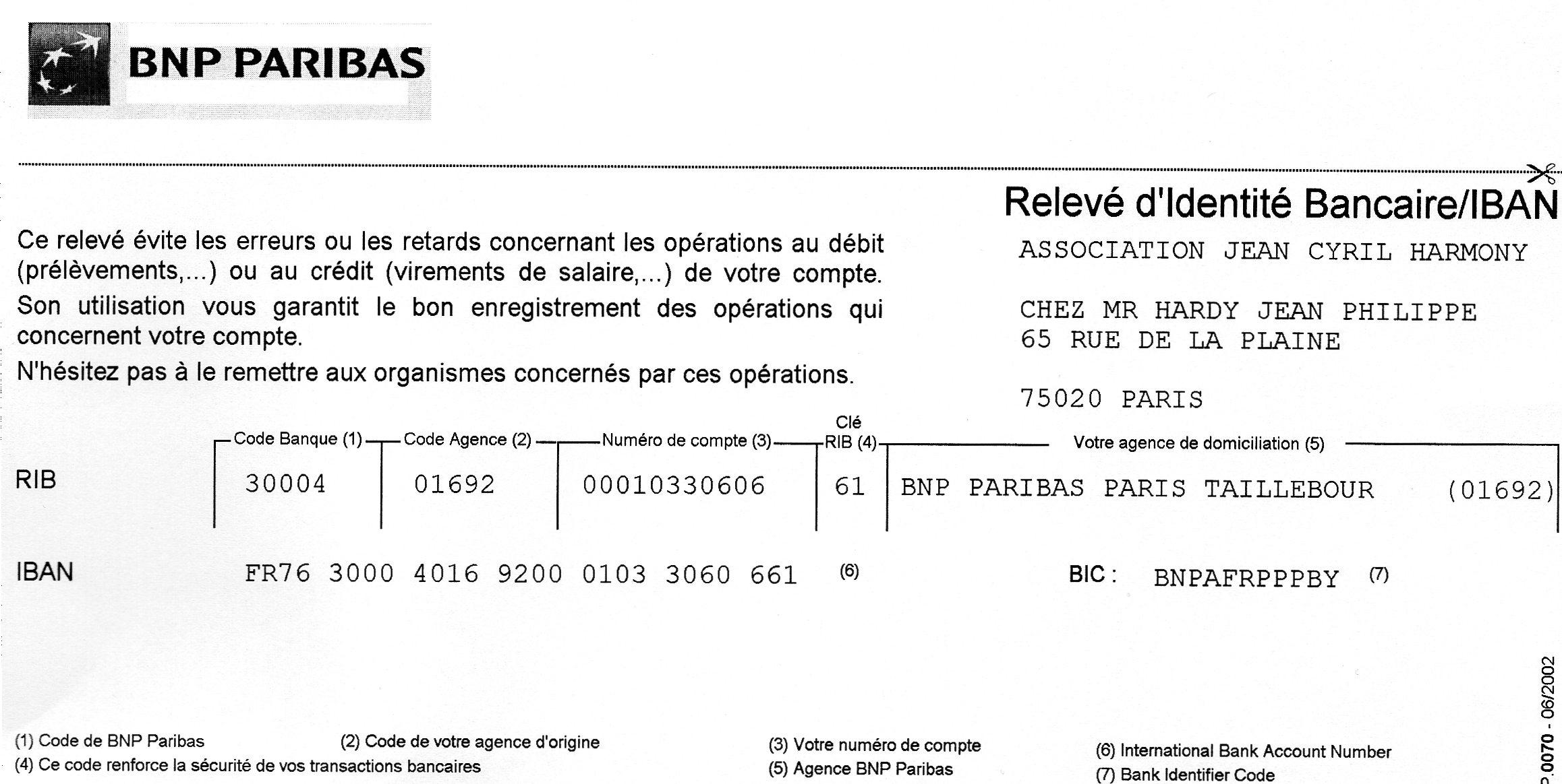 BNP TÉLÉCHARGER PARIBAS RIB